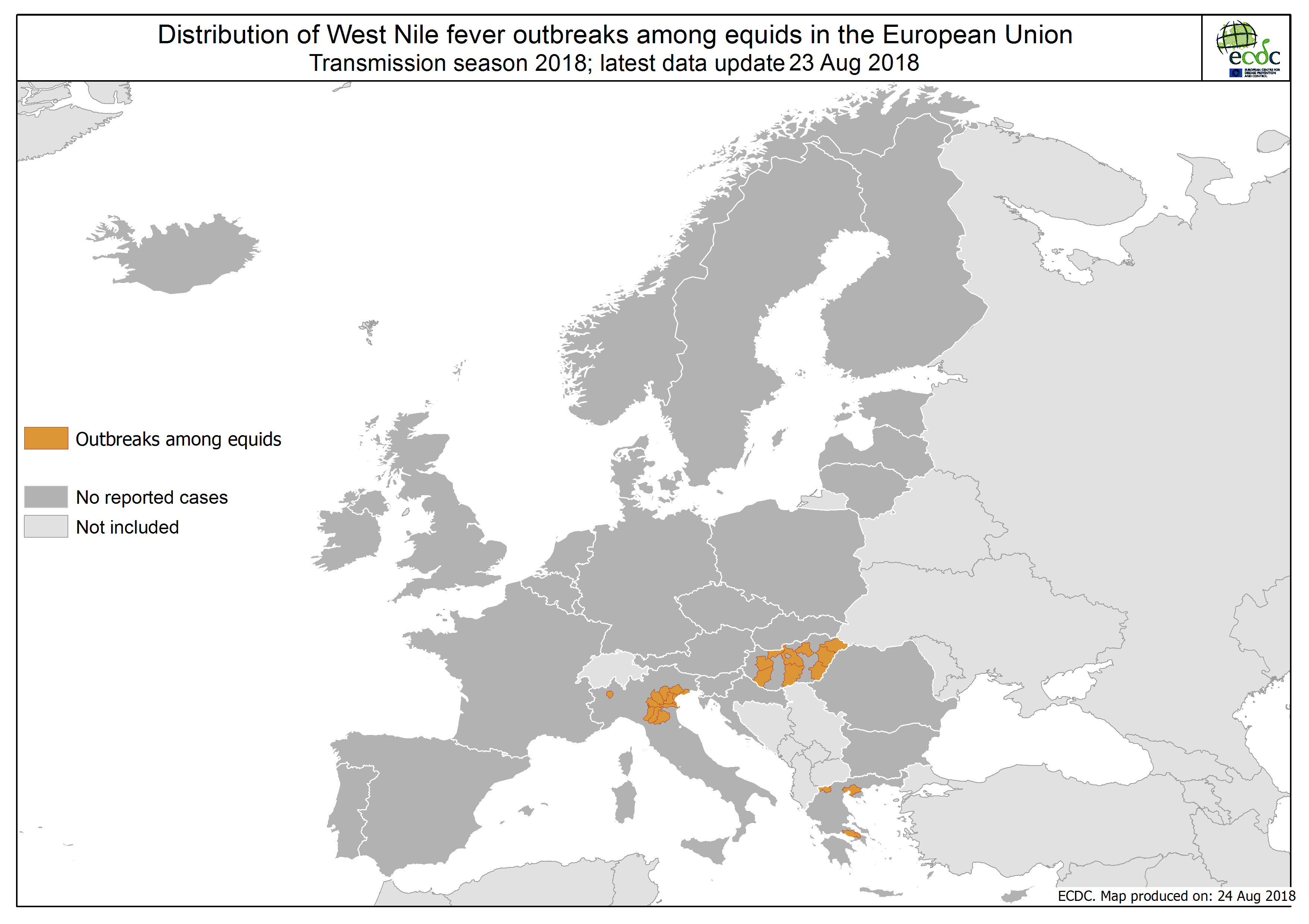 Updated Map Of Europe.West Nile Fever In Europe In 2018 Equine Cases Updated 24 August