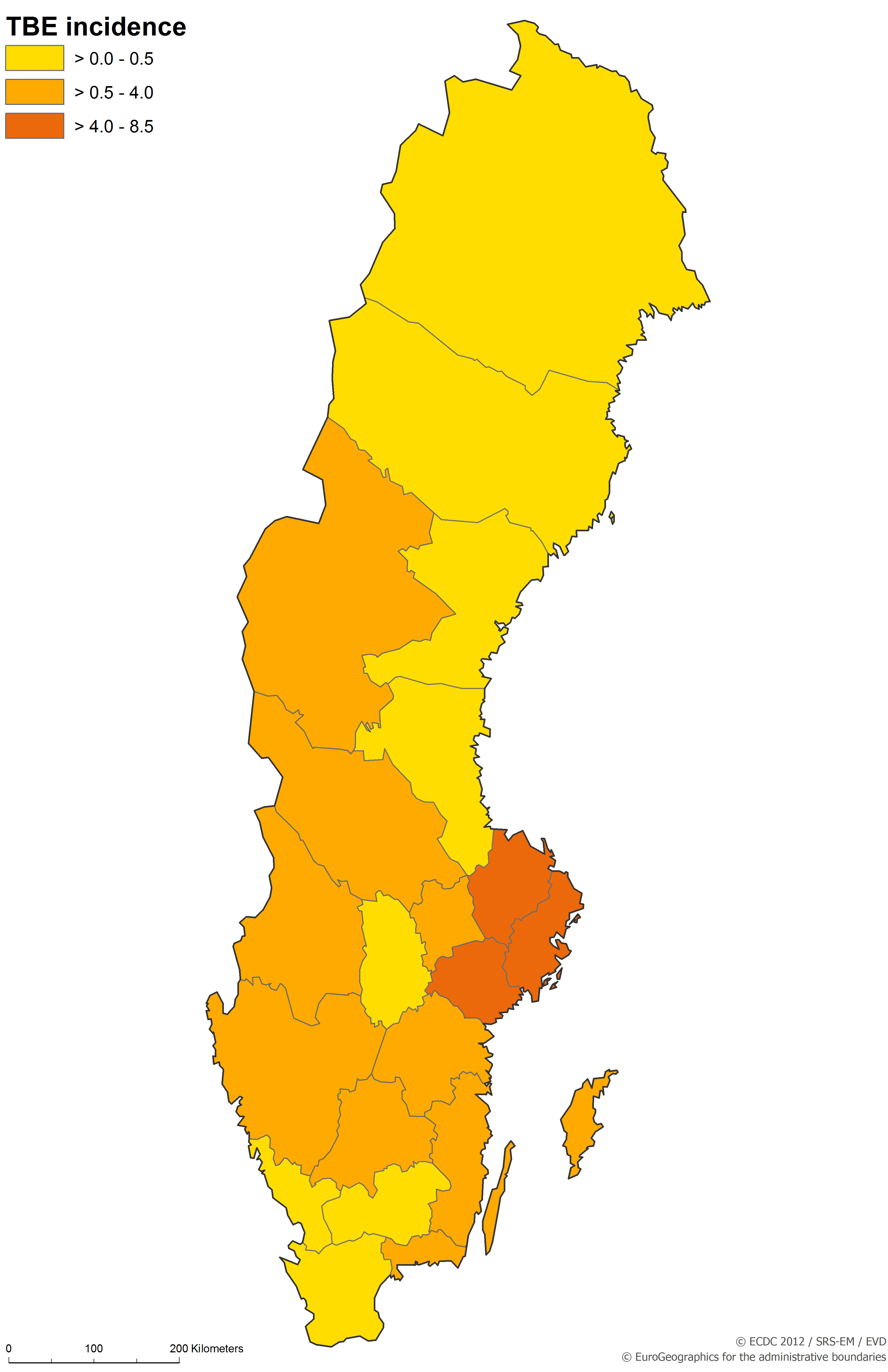 Country Profile Sweden Tickborne Encephalitis TBE - Sweden map of country
