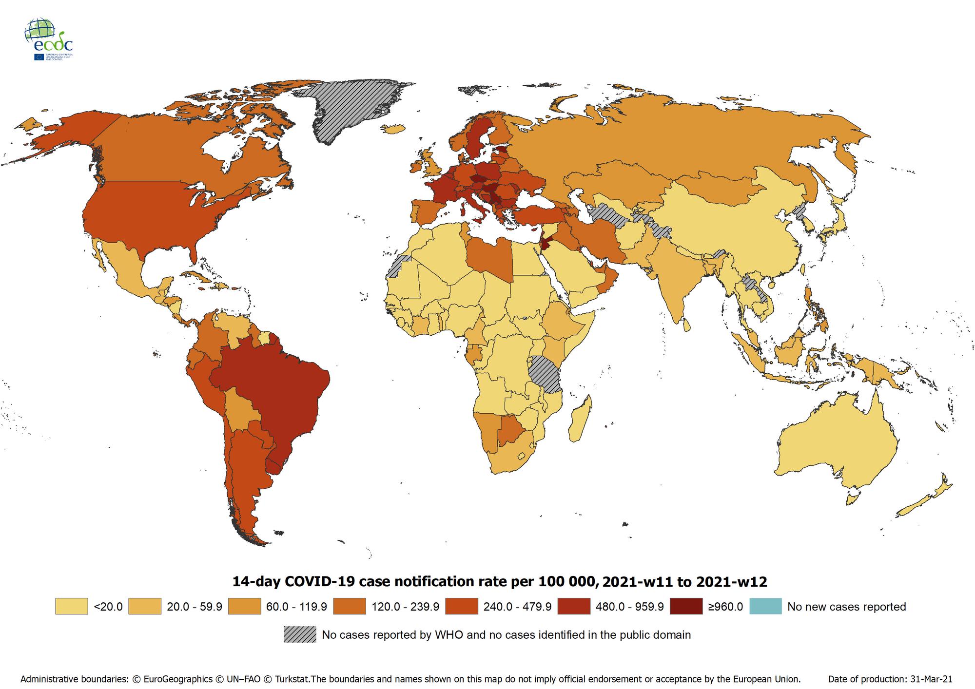 ECDC-Weltkarte: COVID-19 14-Tage-Inzidenz