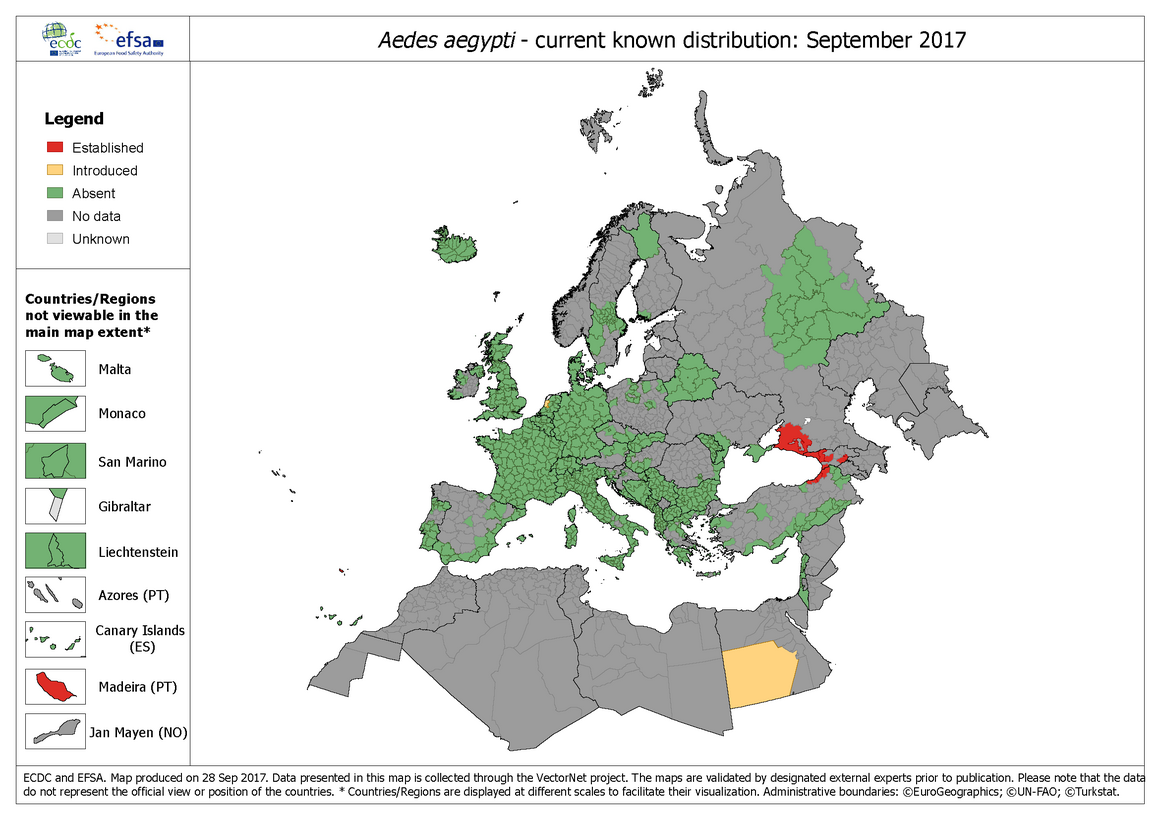 Aedes aegypti - current known distribution: September 2017