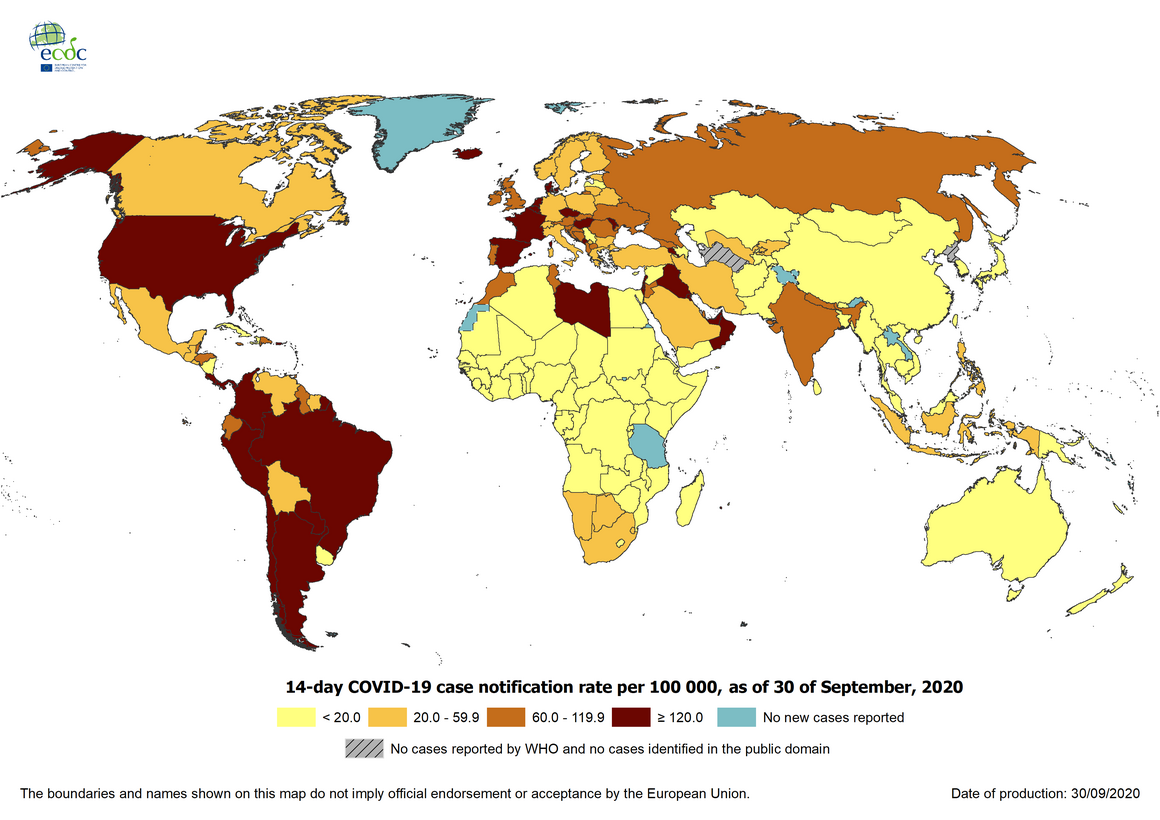 Geographic distribution of 14-day cumulative number of reported COVID-19 cases per 100 000 population, worldwide, as of 30September2020