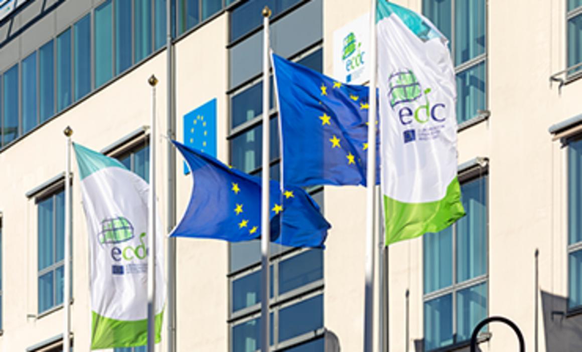 ECDC premises with ECDC and EU flags