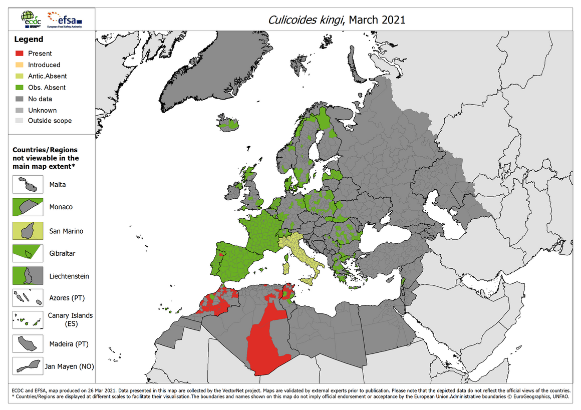 Culicoides kingi - current known distribution: March 2021