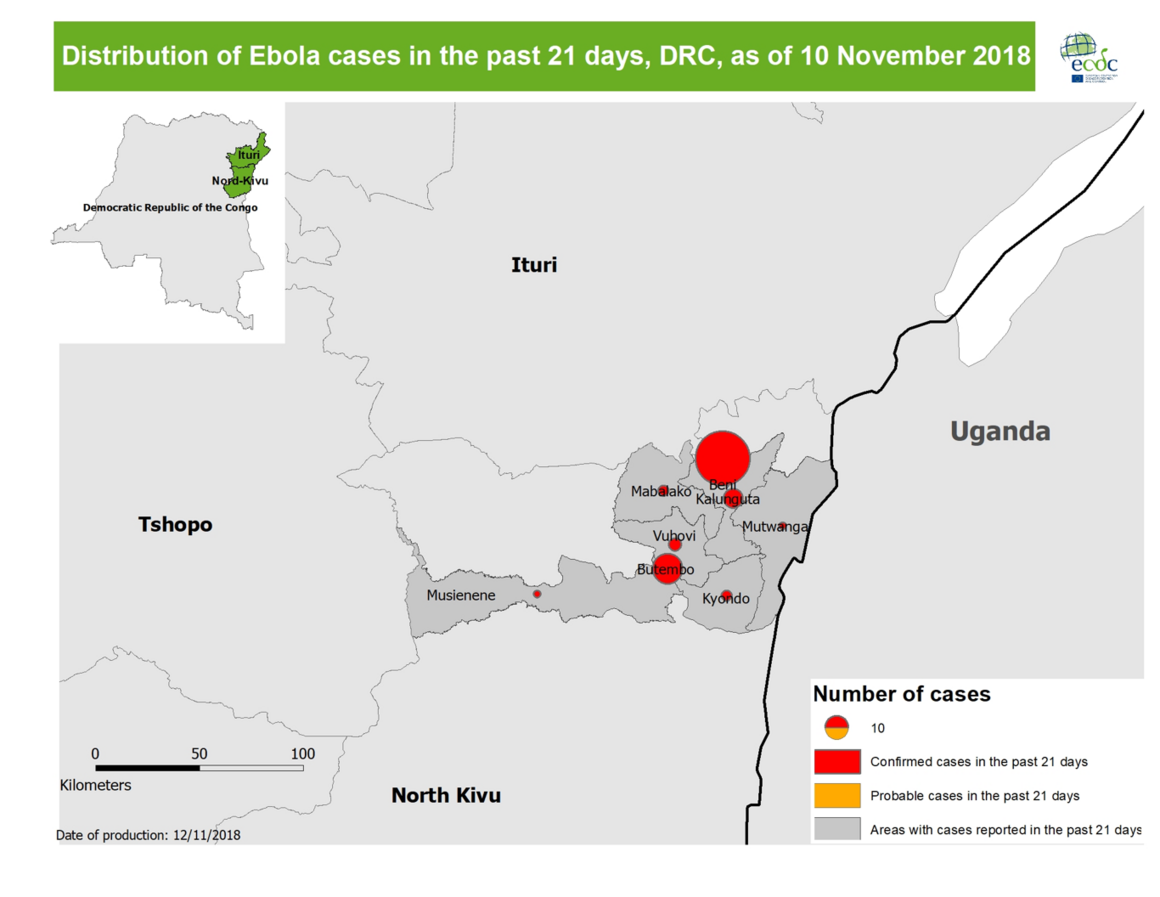 Distribution of Ebola cases in the past 21 days, DRC, as of 10 November 2018