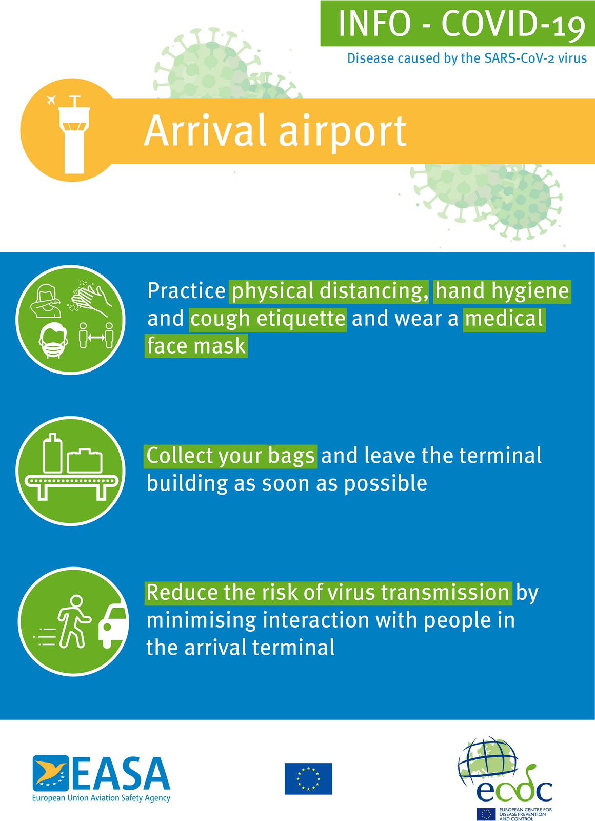 Poster: Arrival airport (blue background)