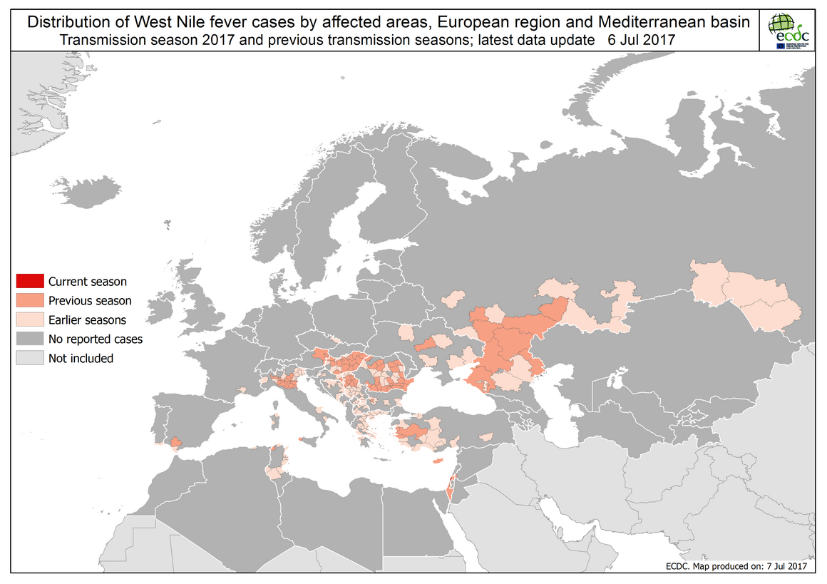 West Nile fever in Europe in 2017 and previous transmission seasons