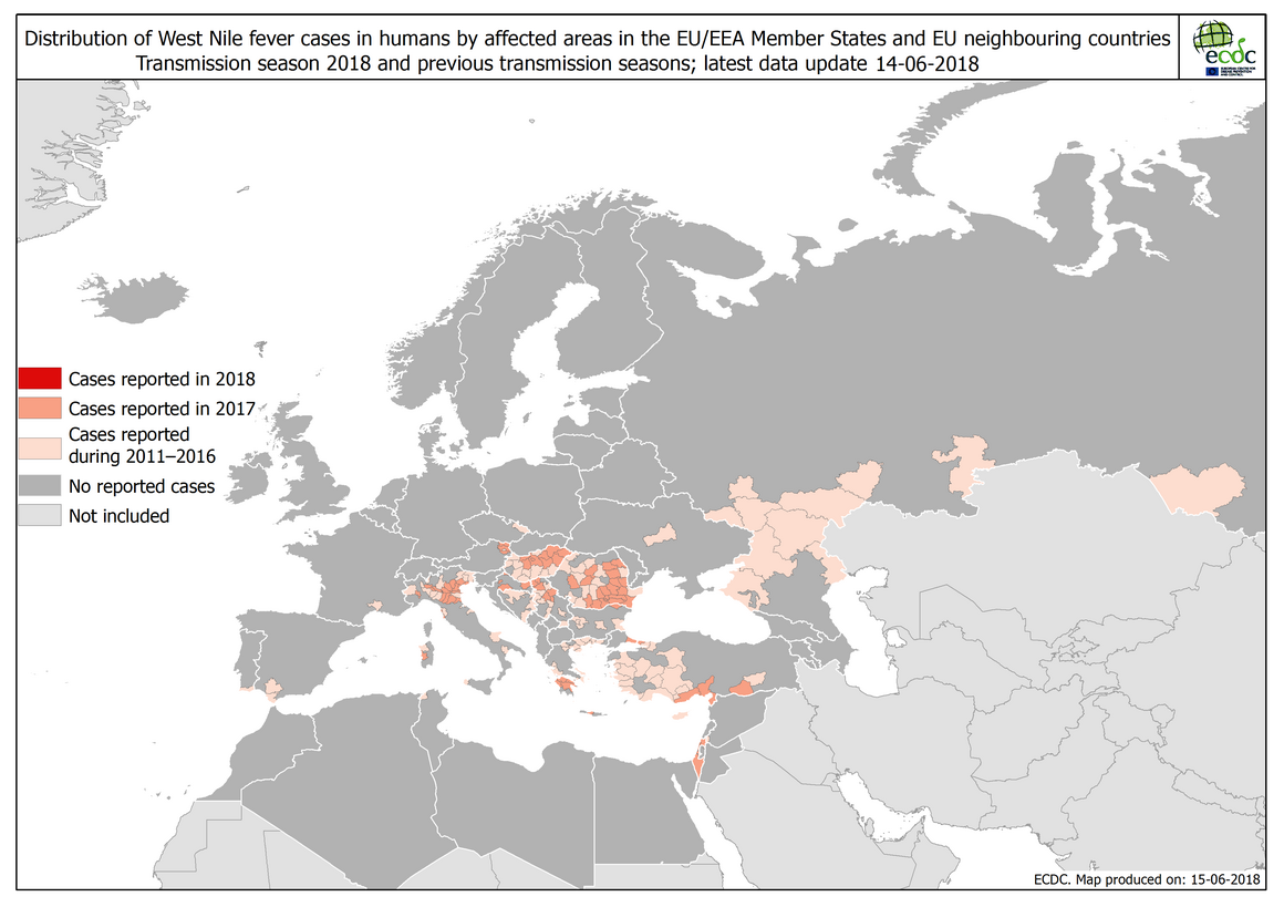 Map: West Nile fever in Europe in 2018 - human cases compared to the previous season; updated 14 June