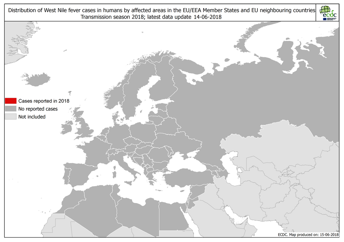 Map: West Nile fever in Europe in 2018 - human cases; updated 14 June