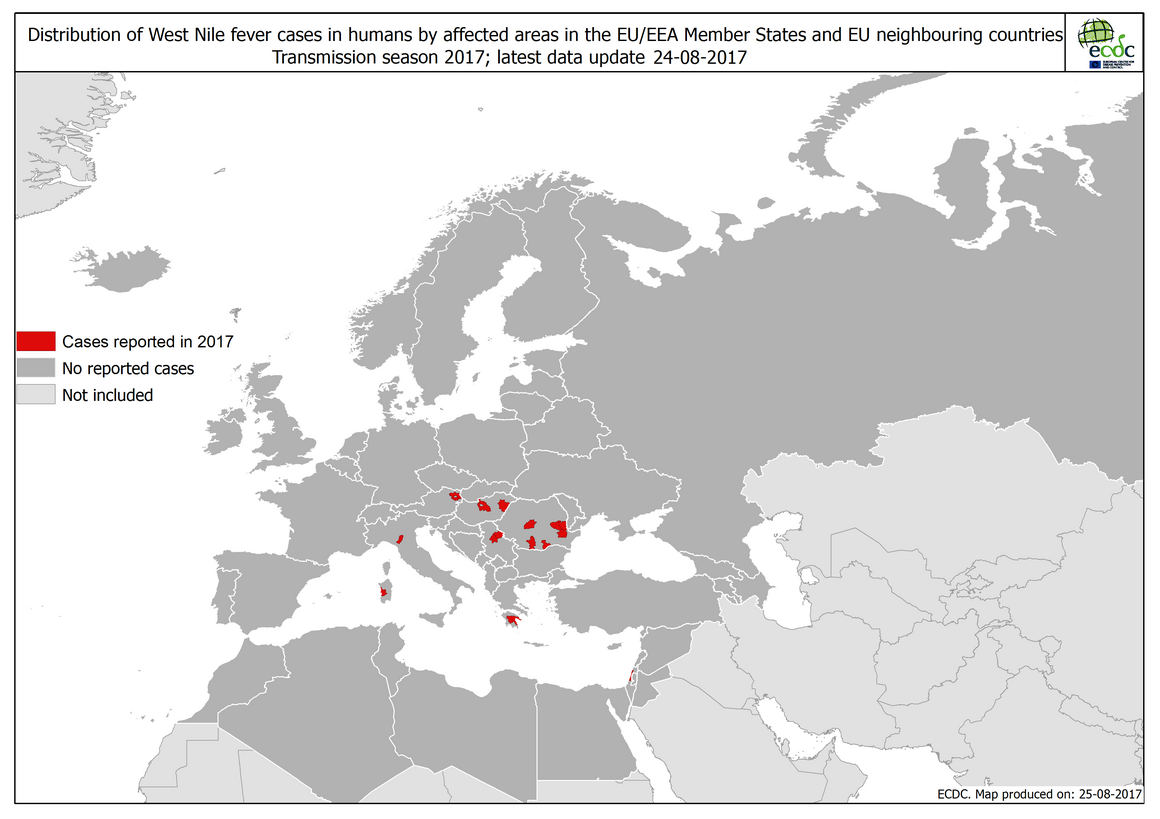 West Nile fever in Europe in 2017; updated 25 August