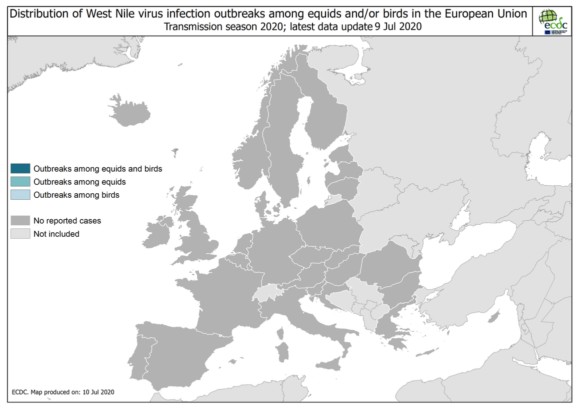 West Nile virus in Europe in 2020 - outbreaks among equids and/or birds, updated 10 July 2020