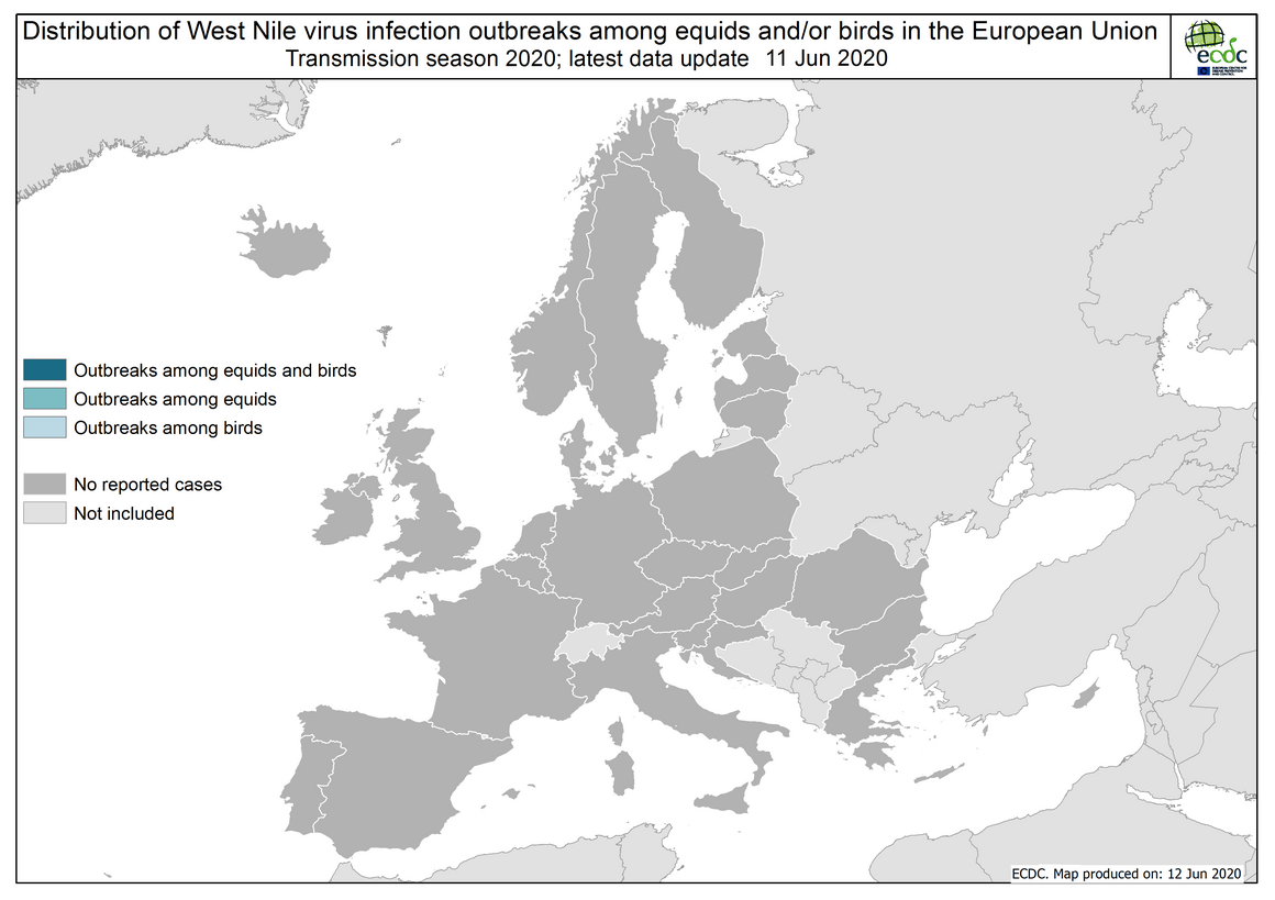 West Nile virus in Europe in 2020 - outbreaks among equids and/or birds, updated 12 June 2020