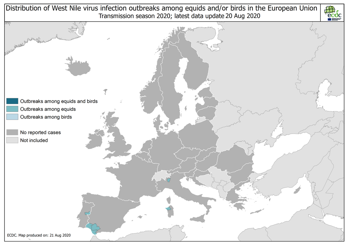 West Nile virus in Europe in 2020 - outbreaks among equids and/or birds, updated 20 August 2020