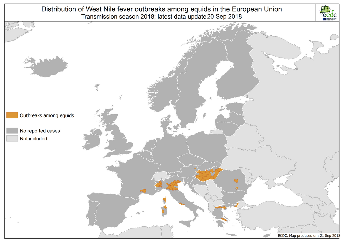 West Nile fever in Europe in 2018 - equine cases; updated 21 September