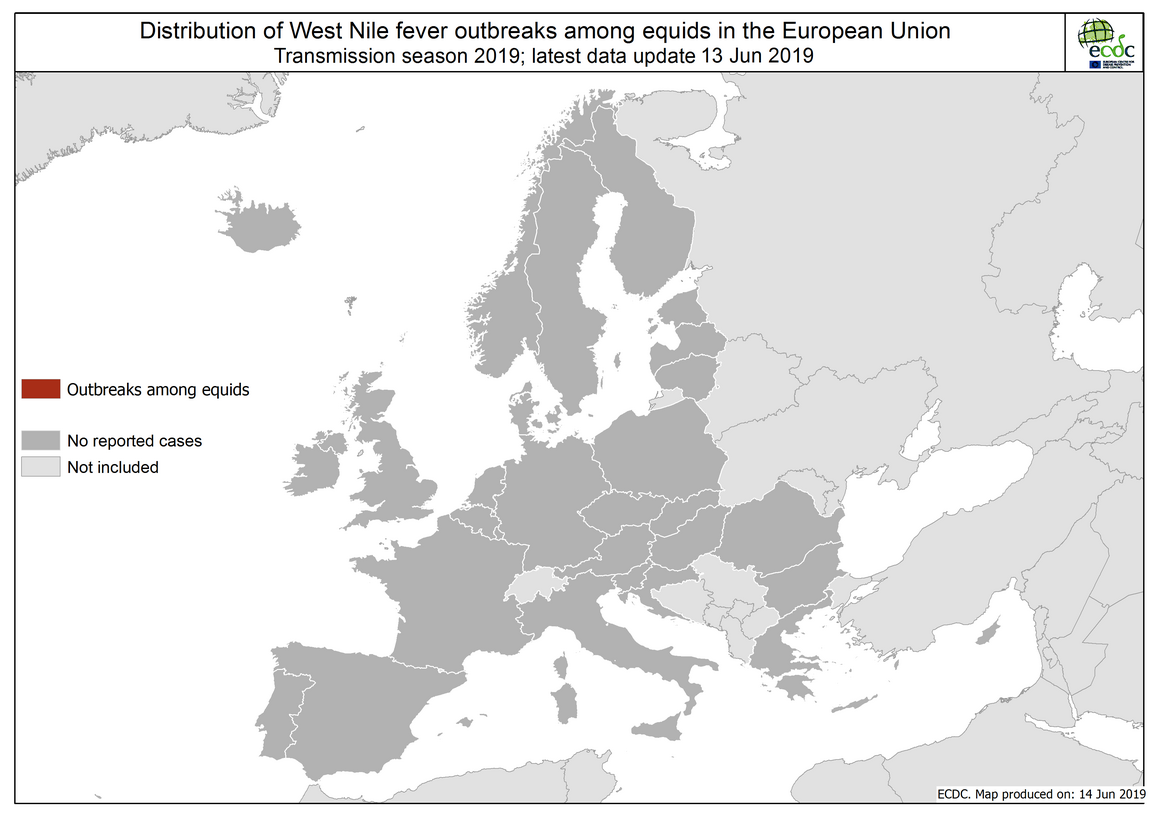 West Nile virus in Europe in 2019 - equine cases; updated 14 June