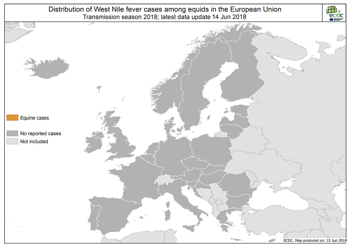 Map: West Nile fever in Europe in 2018 - equine cases; updated 14 June