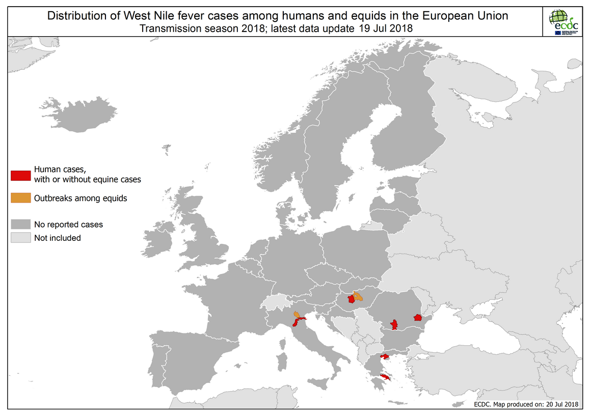 West Nile fever in Europe in 2018 - human and equine cases; updated 20 July
