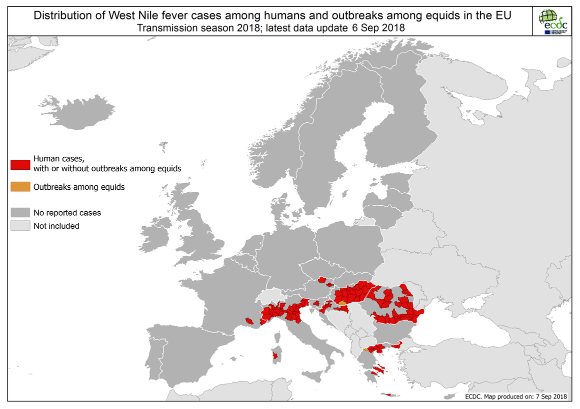 West Nile fever in Europe in 2018 - human and equine cases; updated 7 September