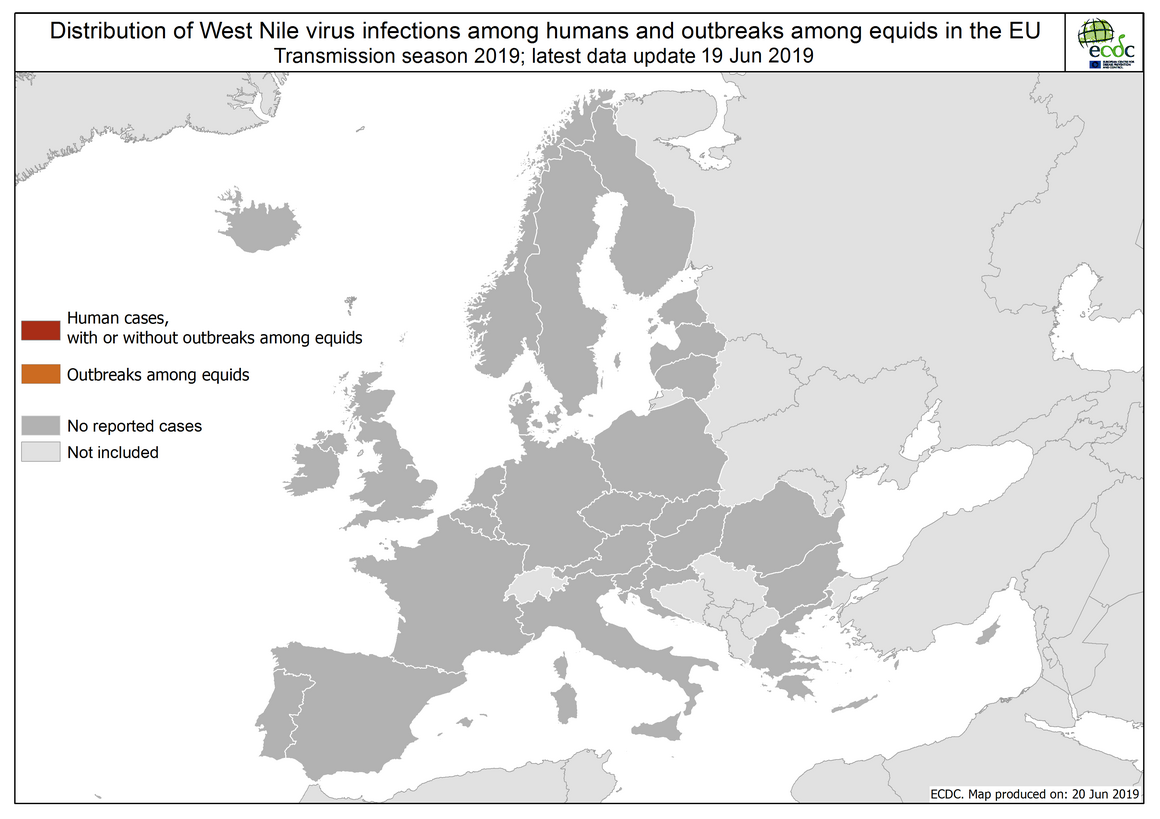 West Nile virus in Europe in 2019 - human and equine cases; updated 20 June