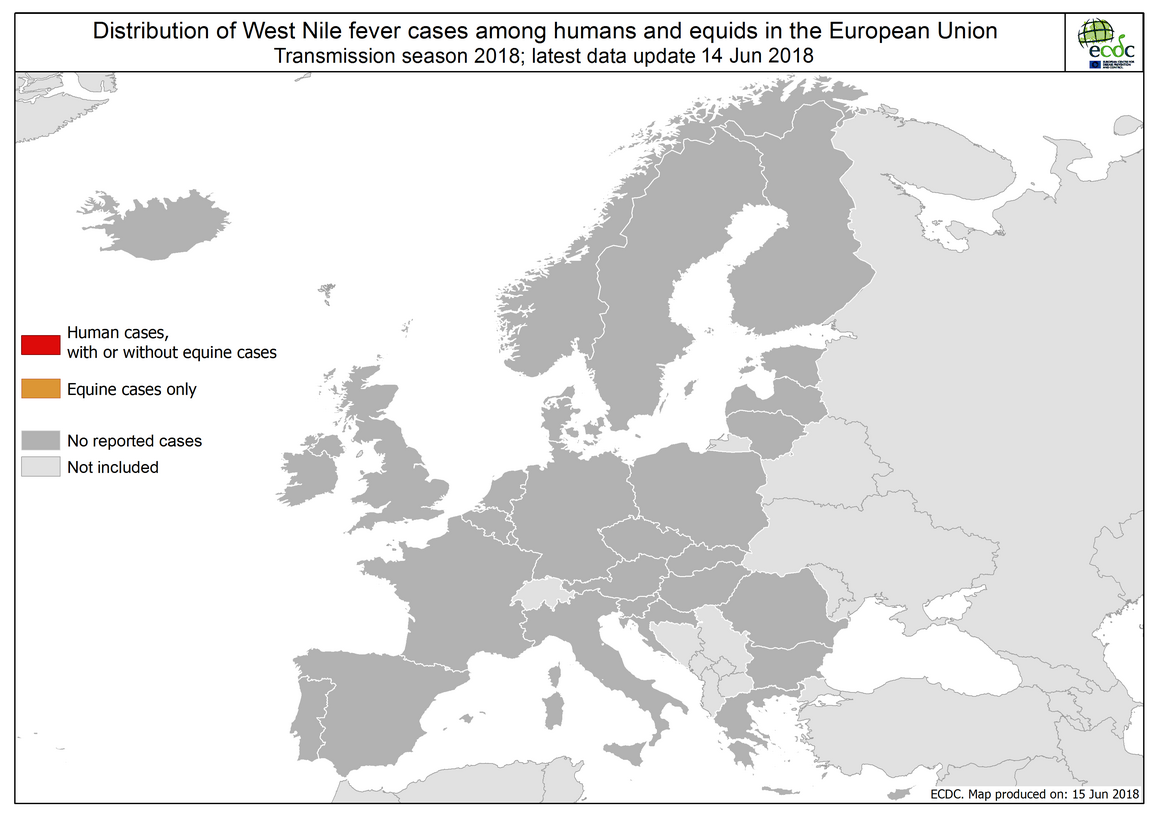 Map: West Nile fever in Europe in 2018 - human and equine cases; updated 14 June