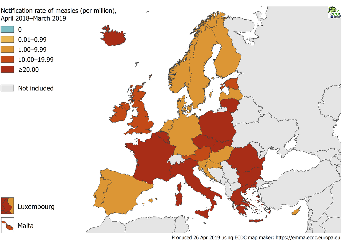 Measles notification rate per million population by country, EU/EEA, 1 April 2018 to 31 March 2019