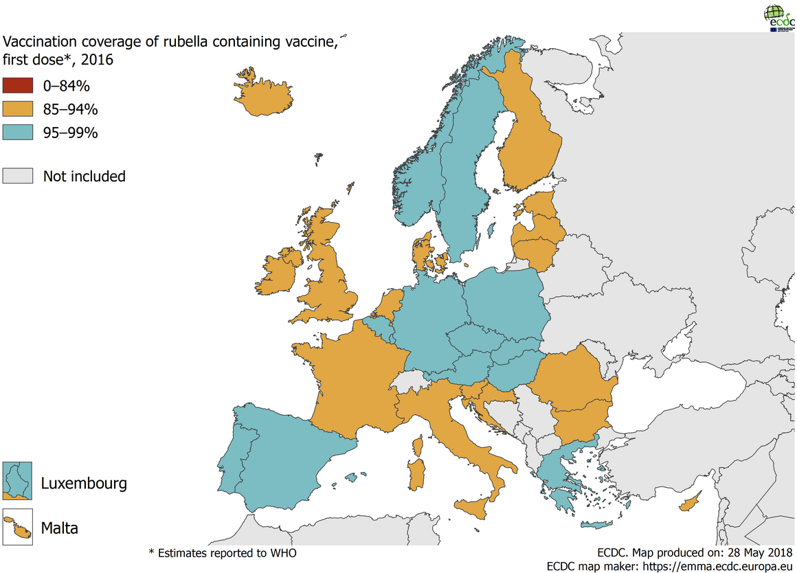 Vaccination coverage for the first dose of rubella-containing vaccine by country, 2016, EU/EEA countries