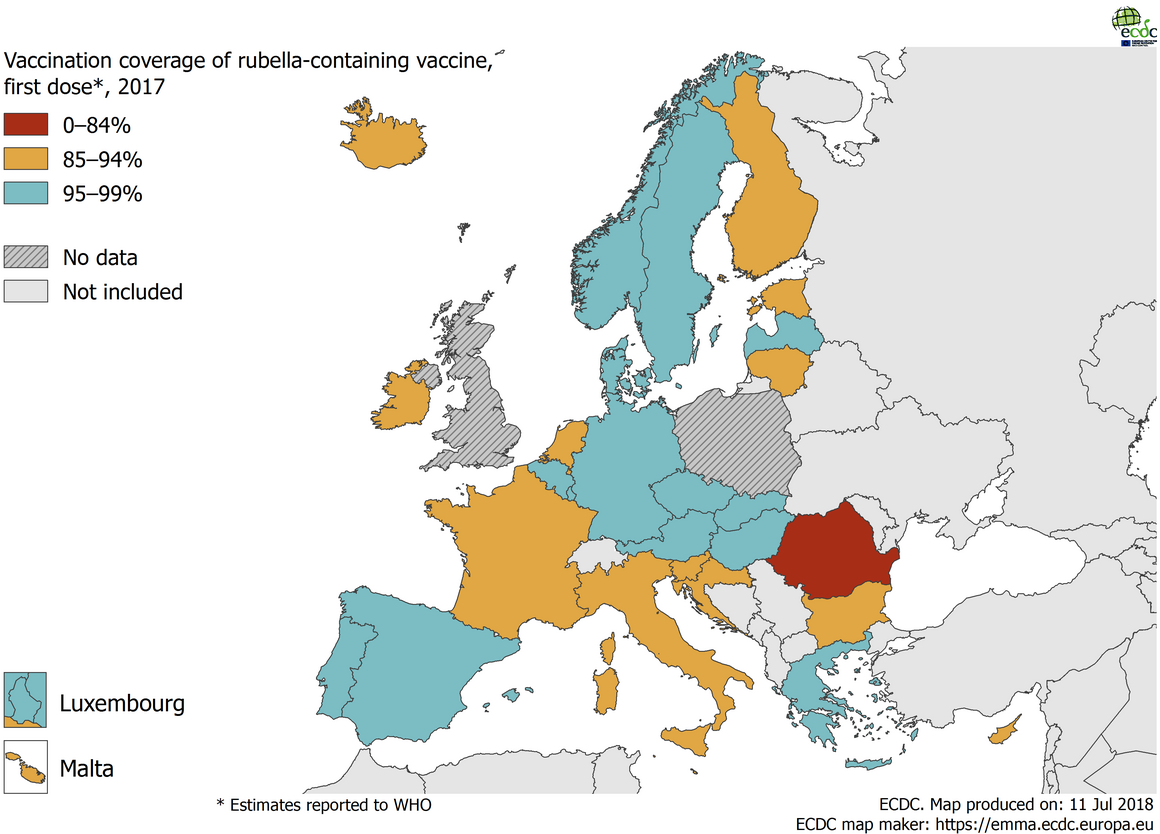 Vaccination coverage for the first dose of rubella-containing vaccine by country, 2017, EU/EEA countries