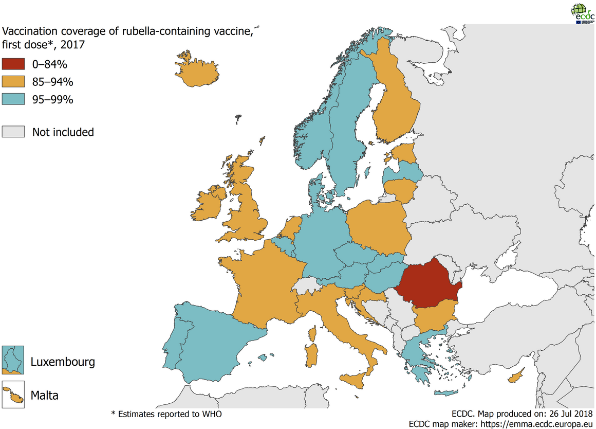 Map showing the vaccination coverage for the first dose of rubella-containing vaccine by country, EU/EEA, 2017