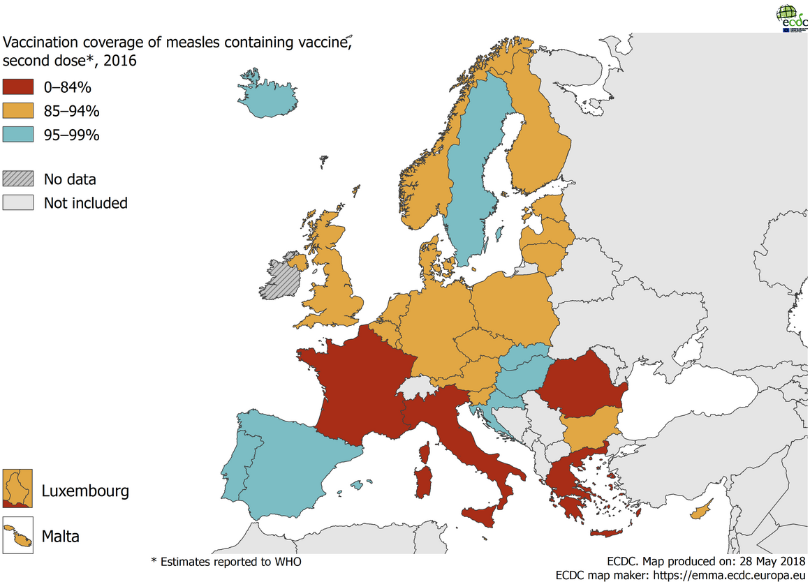 Vaccination coverage for the second dose of measles-containing vaccine by country, 2016, WHO, EU/EEA countries