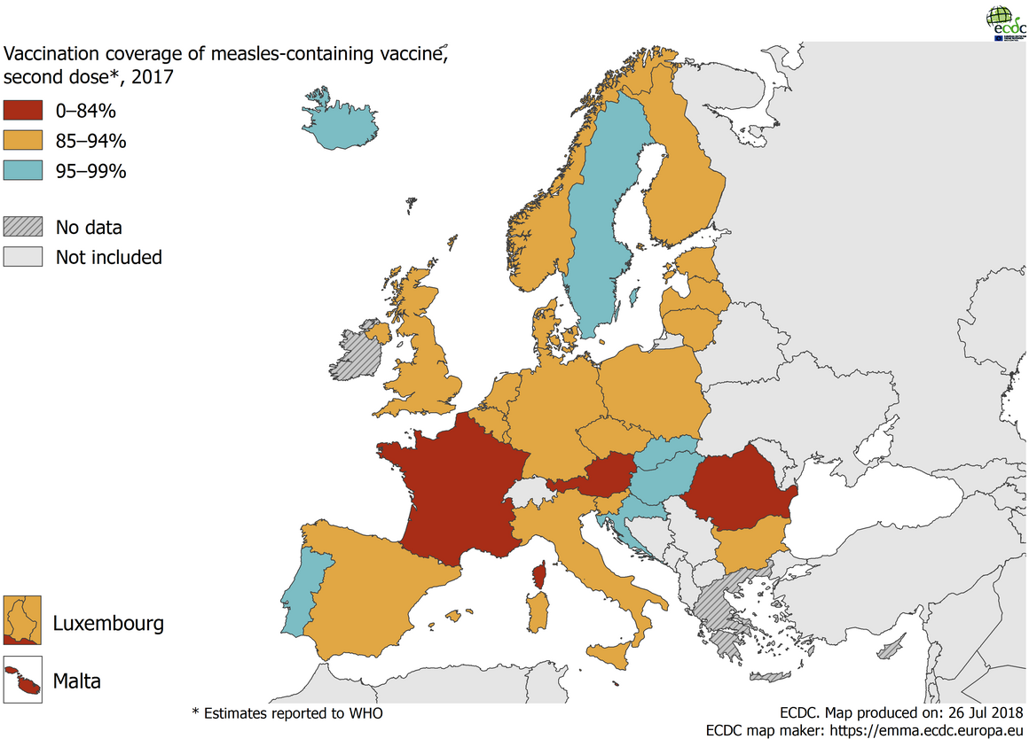 Map showing the vaccination coverage for the second dose of measles containing vaccine, by country, EU/EEA, 2017