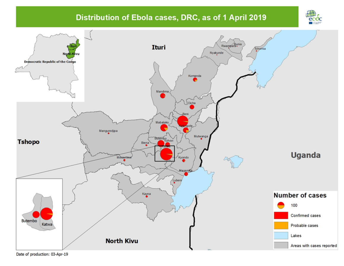 Map - distribution of Ebola cases, DRC, as of 1 April 2019