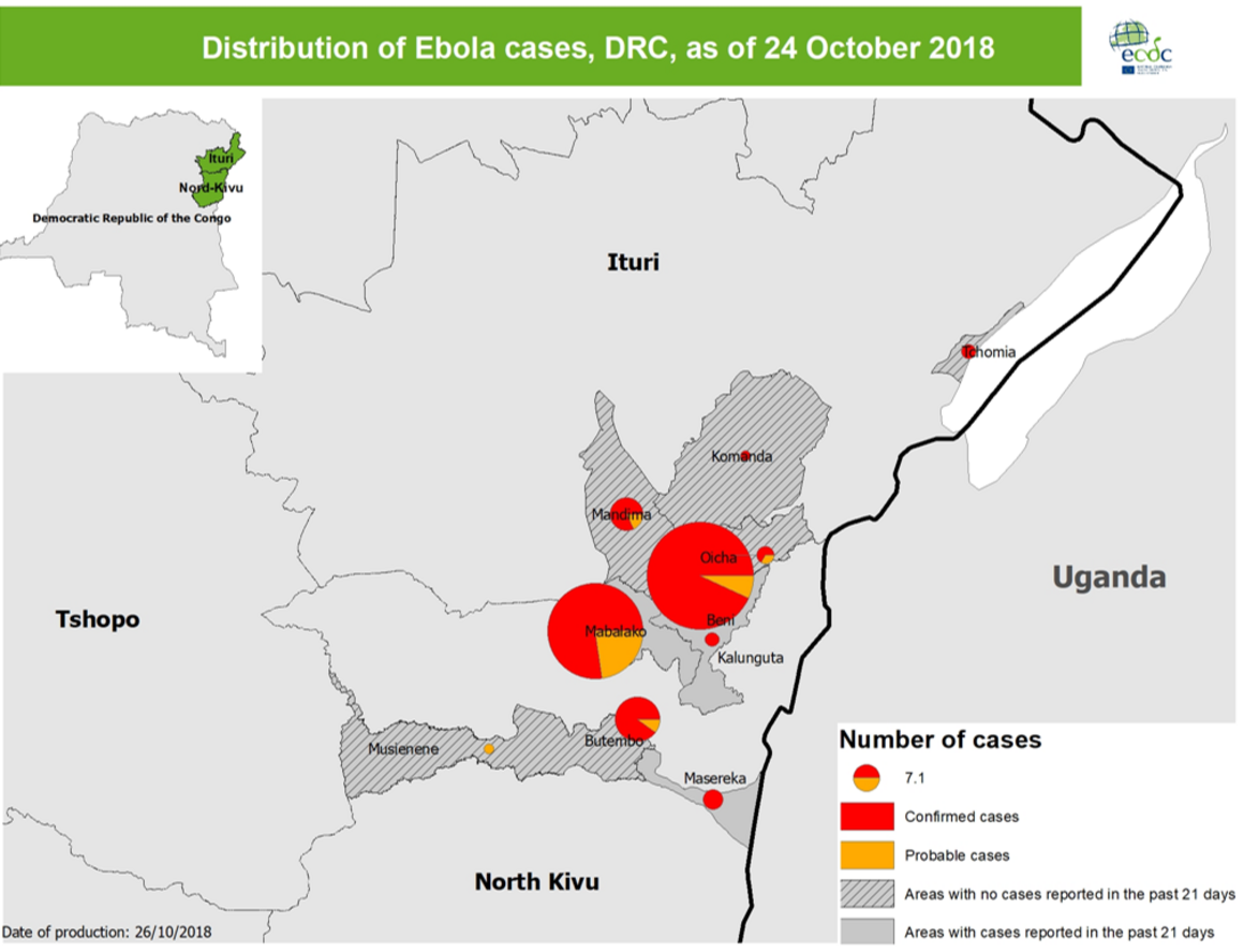 Distribution of Ebola cases, DRC, as of 24 October 2018