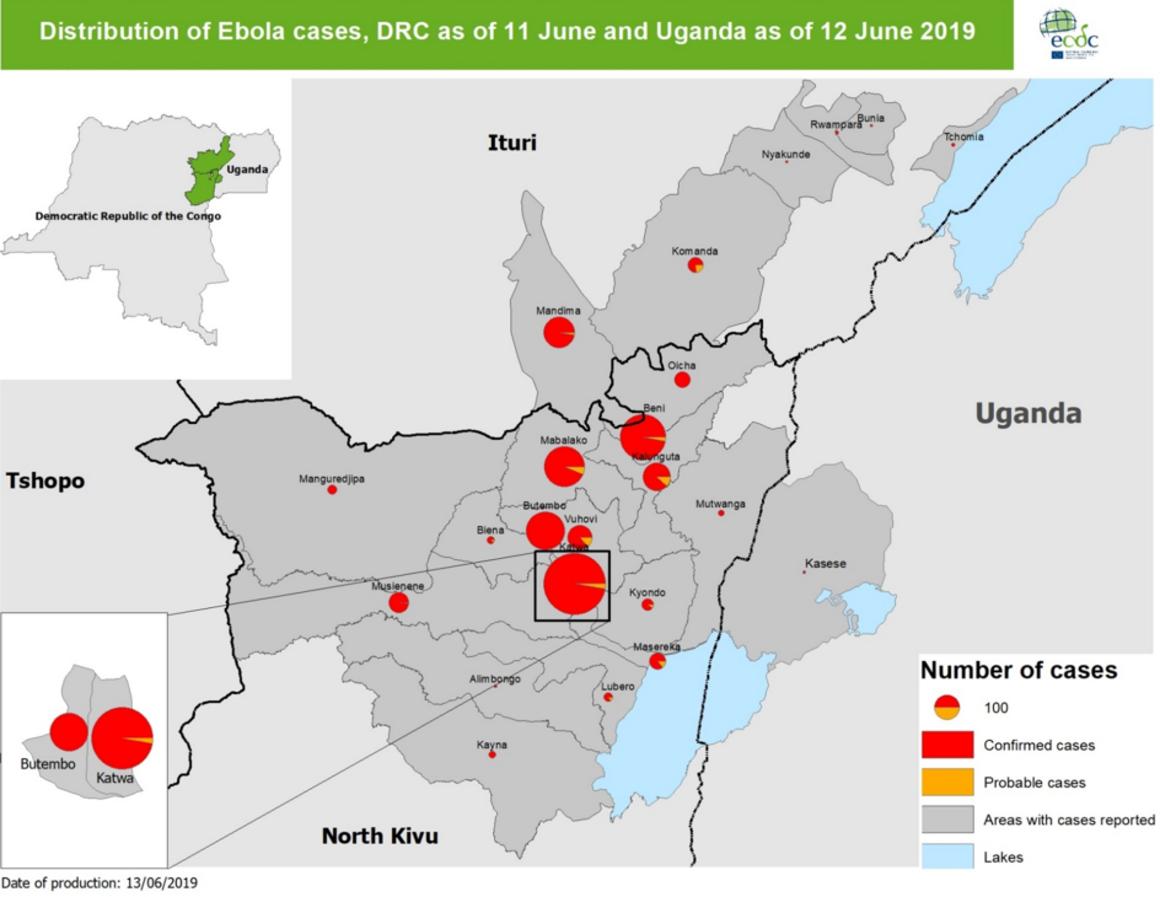 Ebola map, DRC and Uganda, 13 June 2019