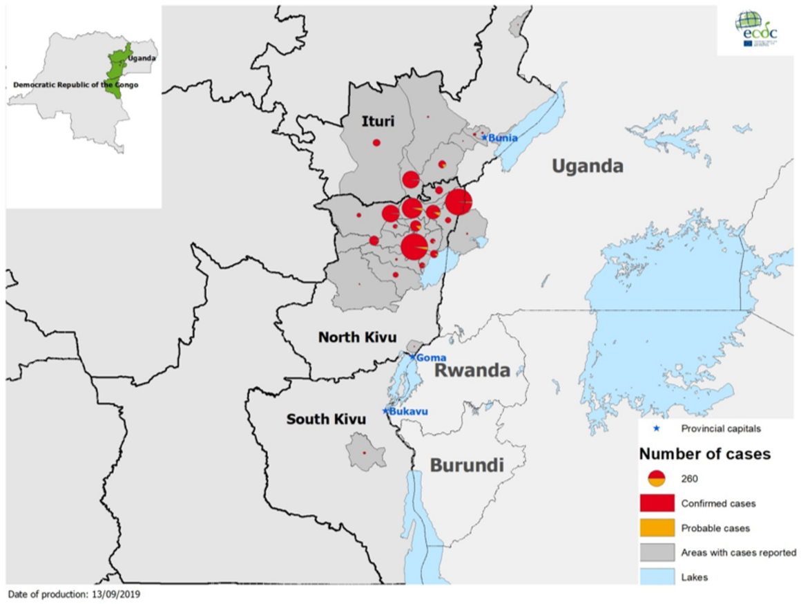 Map, Ebola in DRC and Uganda, latest update: 11 September 2019