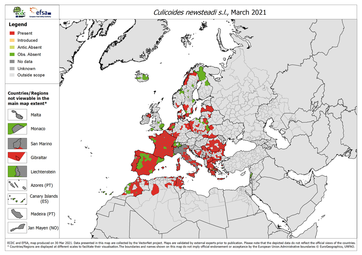 Culicoides newsteadi s.l. - current known distribution: March 2021