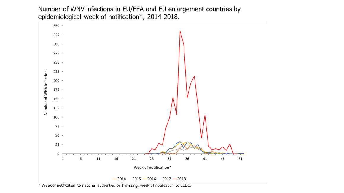 Number of WNV infections in EU/EEA and EU enlargement countries by epidemiological week of notification*, 2014-2018.