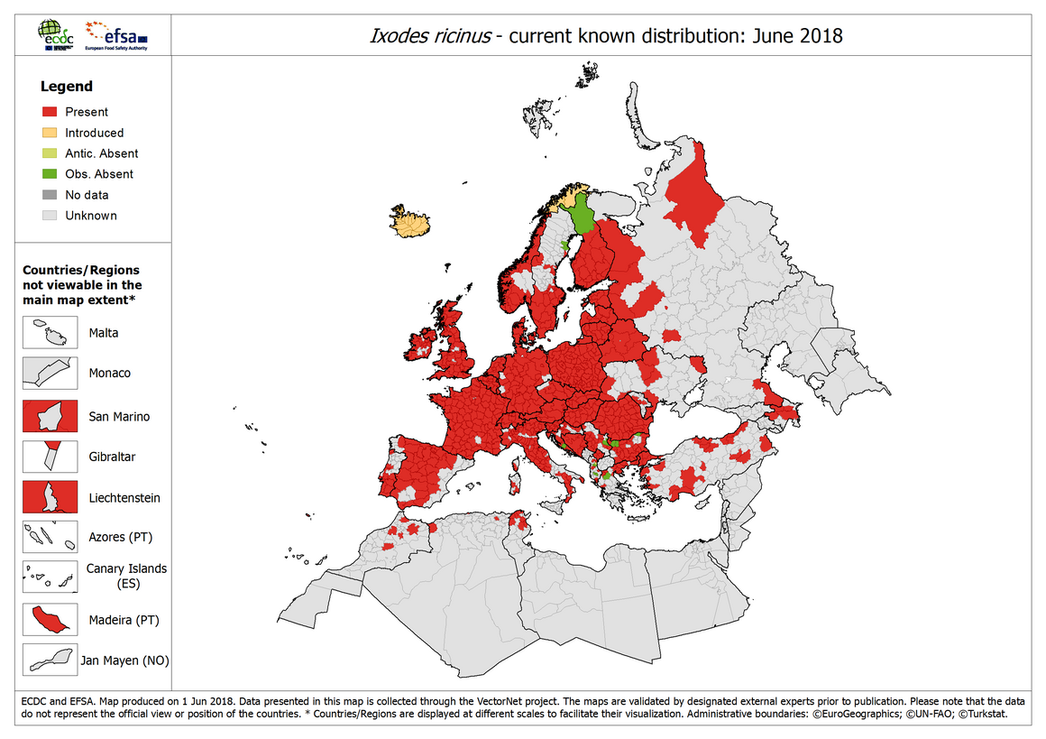 Map: Ixodes ricinus - current known distribution: January 2018