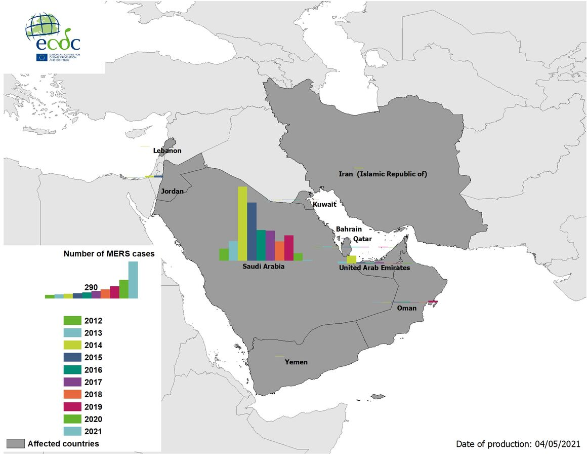 Geographical distribution of confirmed MERS-CoV cases by country of infection and year, May 2021