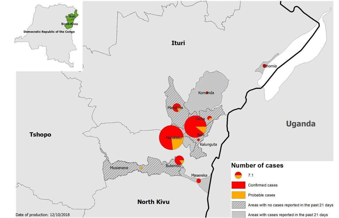 Map of Ebola outbreak, in North Kivu and Ituri, DRC, 10 October 2018