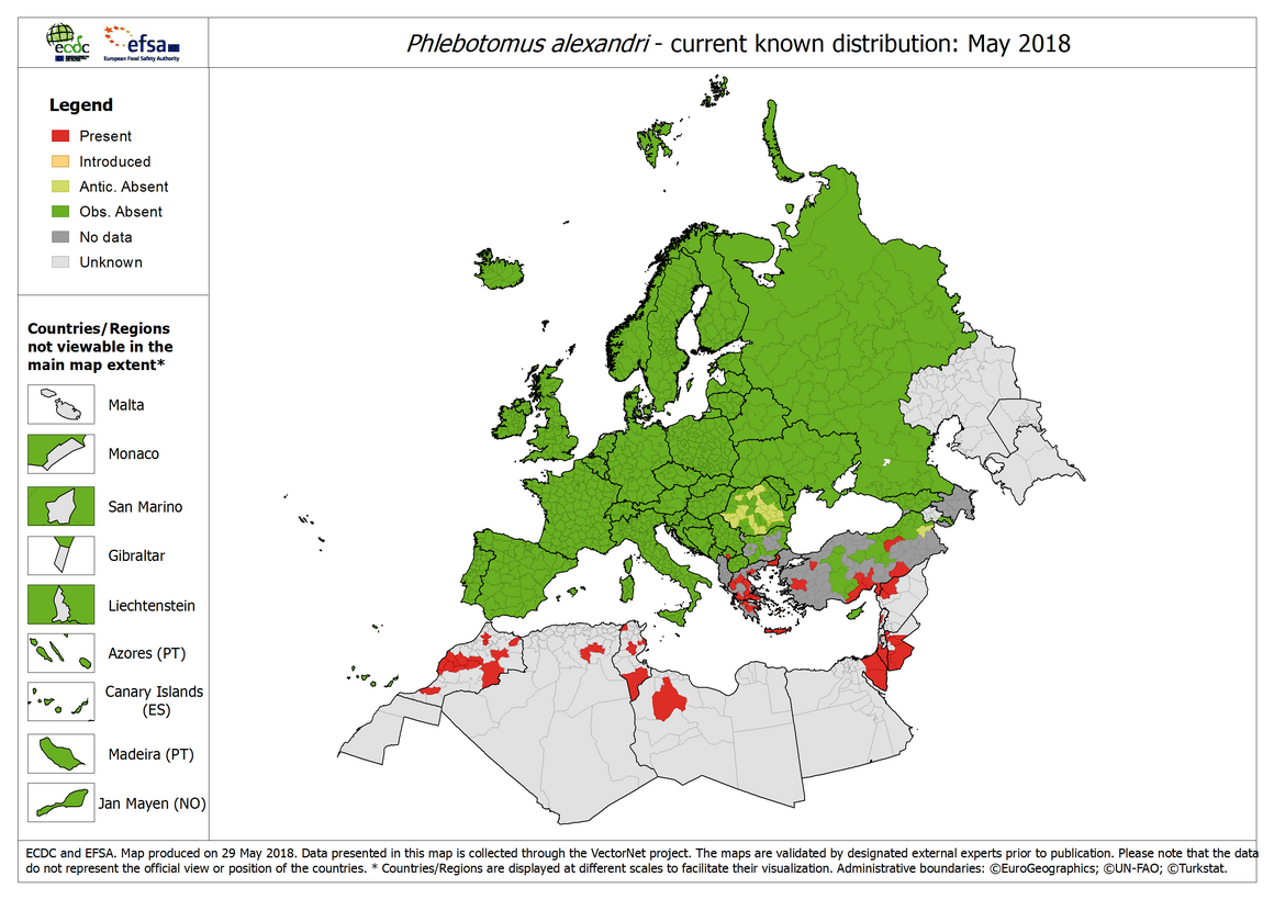 Phlebotomus alexandri - current known distribution in Europe, May 2018