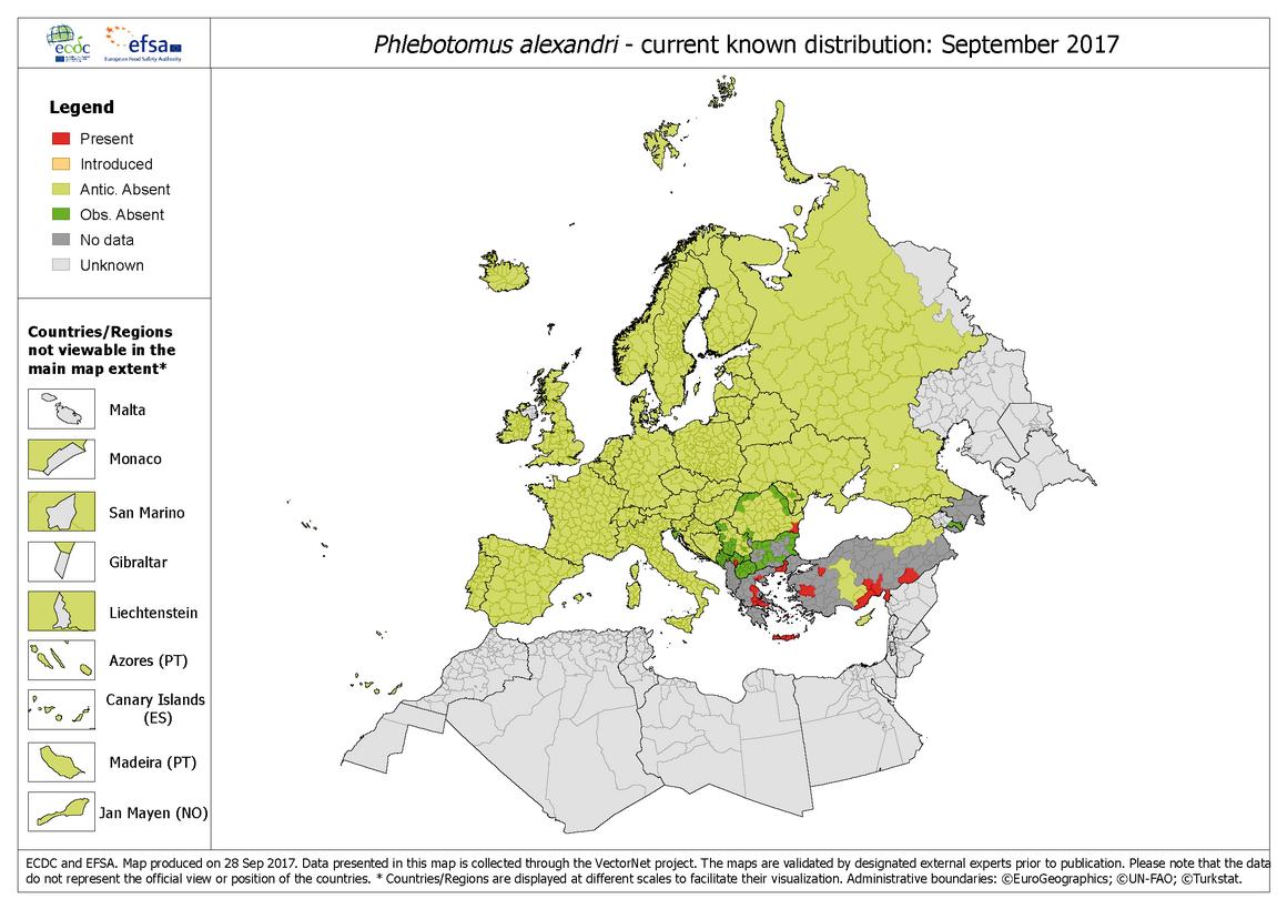 Phlebotomus-alexandri distribution September 2017