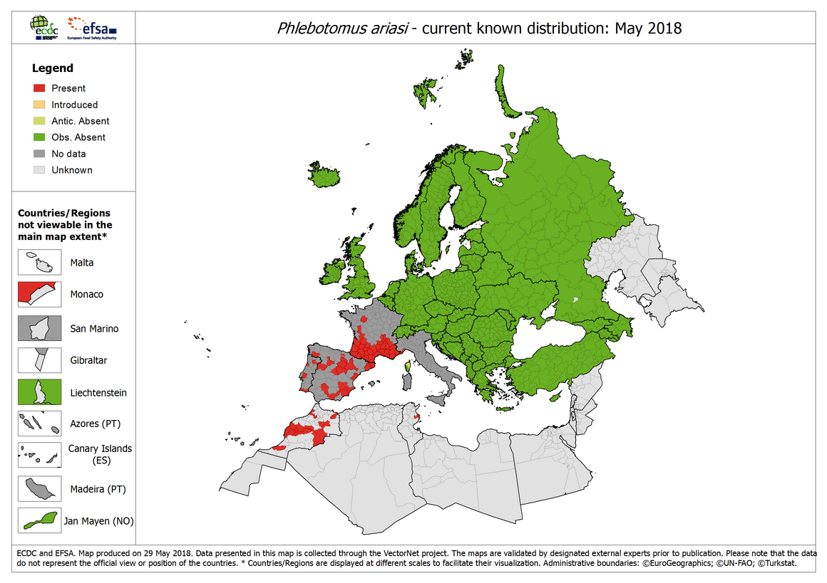 Phlebotomus ariasi - current known distribution in Europe, May 2018