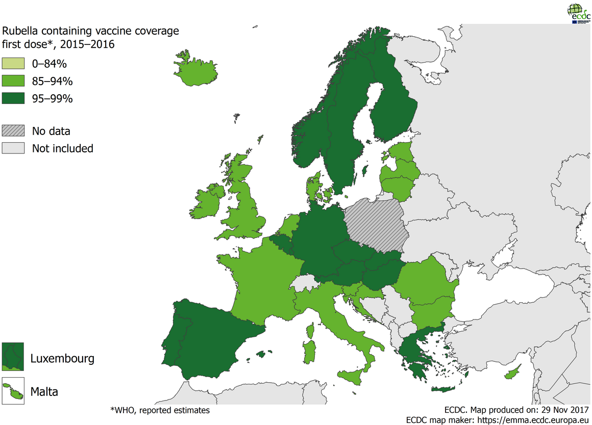 Vaccination coverage for the first dose of rubella-containing vaccine by country, 2015– 2016, WHO, EU/EEA countries