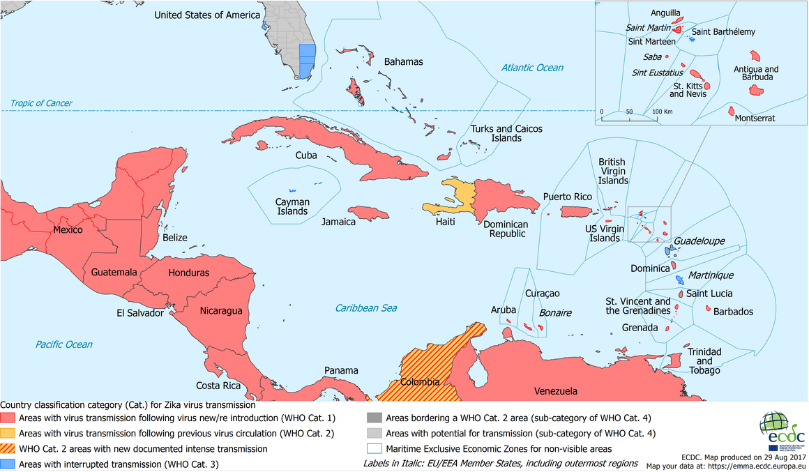 Map of Zika transmission in the Caribbean