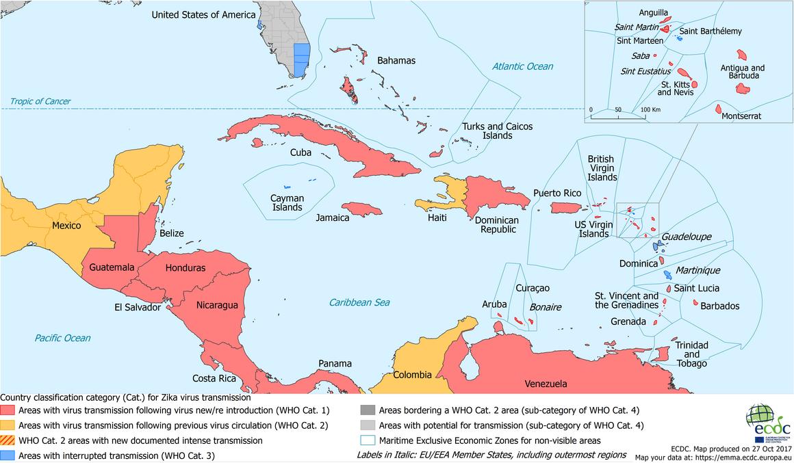 Current Zika transmission - Caribbean, 27 October 2017
