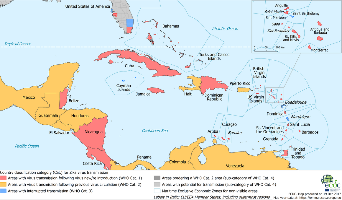 Current Zika transmission - Caribbean, 21 December 2017