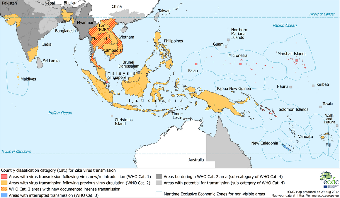 Map showing Zika transmission in South East Asia, as of 28 June 2017