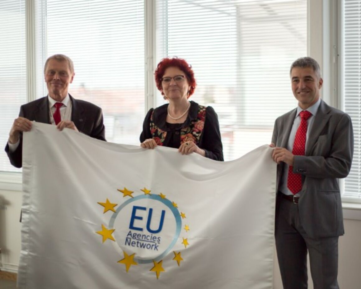 From left to right: Alberto Spagnolli, Senior Policy Adviser, Executive Director Office (EFSA), Dr Andrea Ammon (ECDC), Sakari Vuorensola, Director of Corporate Governance (Frontex)