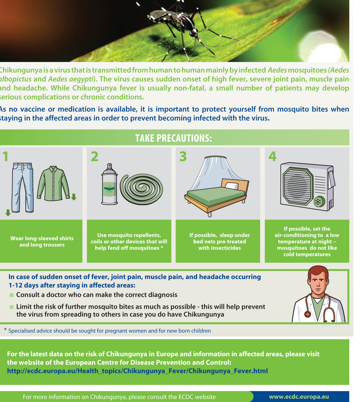 Poster with preventive measures against mosquito bites