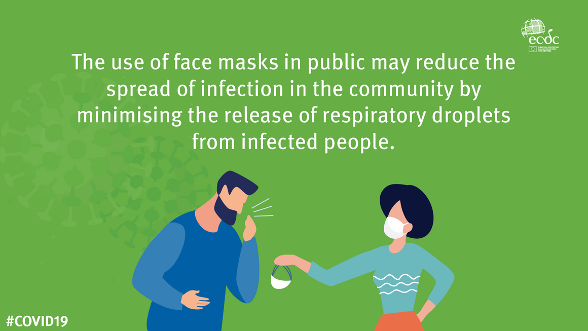 COVID-19 infographic on use of face masks in public