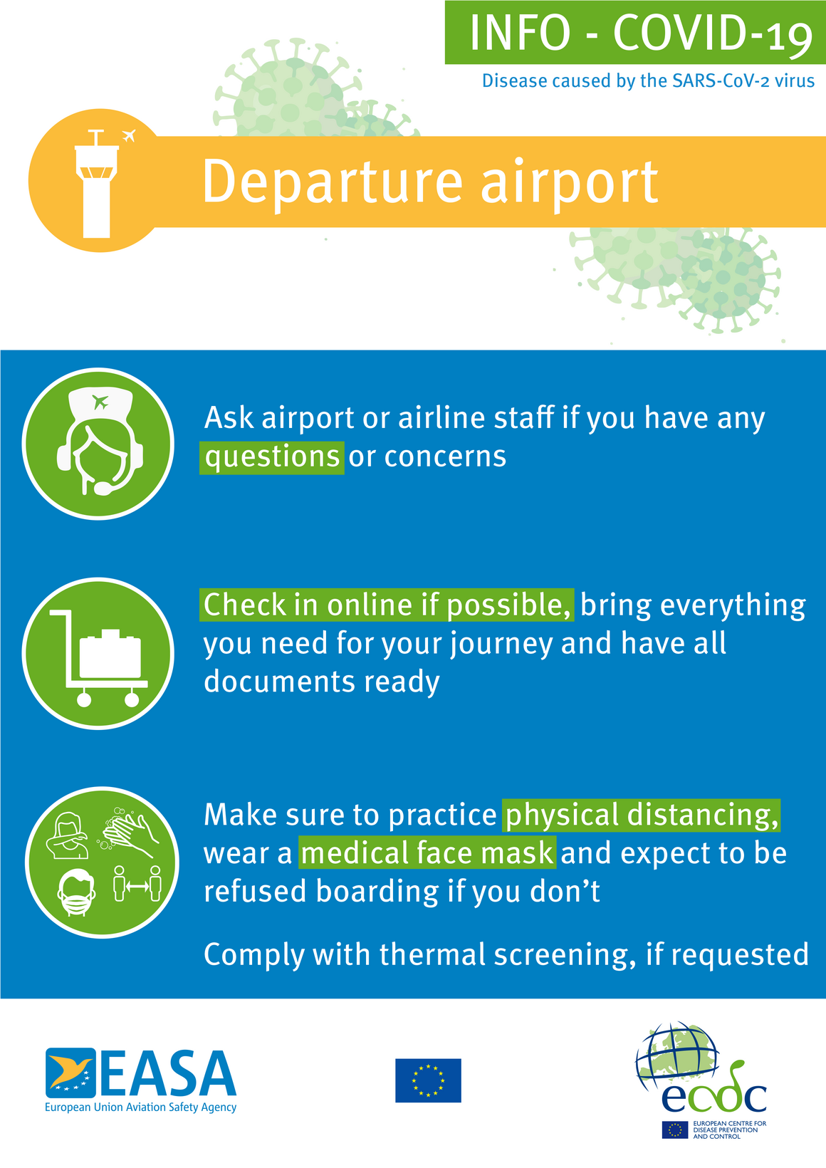 Poster: Departure airport (blue background)